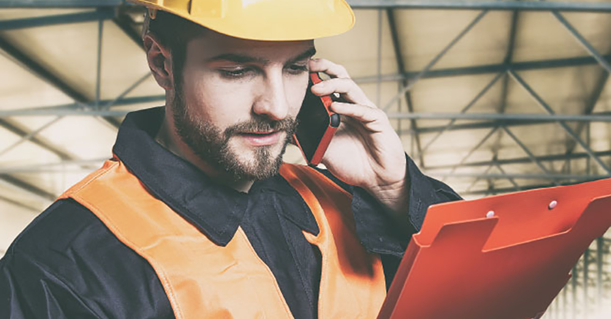 Workman with a mobile device