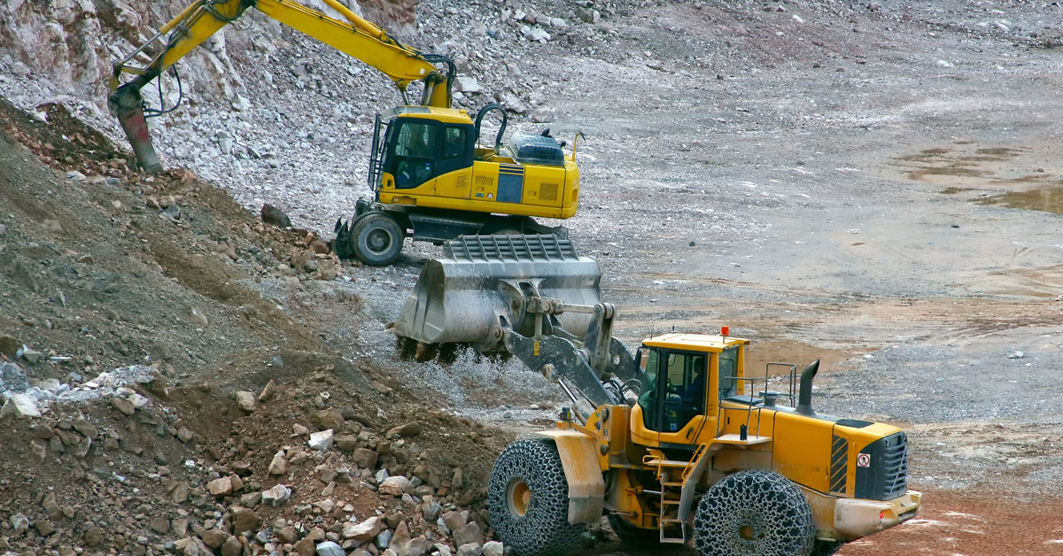 Diggers in a quarry